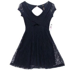 Jessica Simpson navy blue lace dress with keyhole
